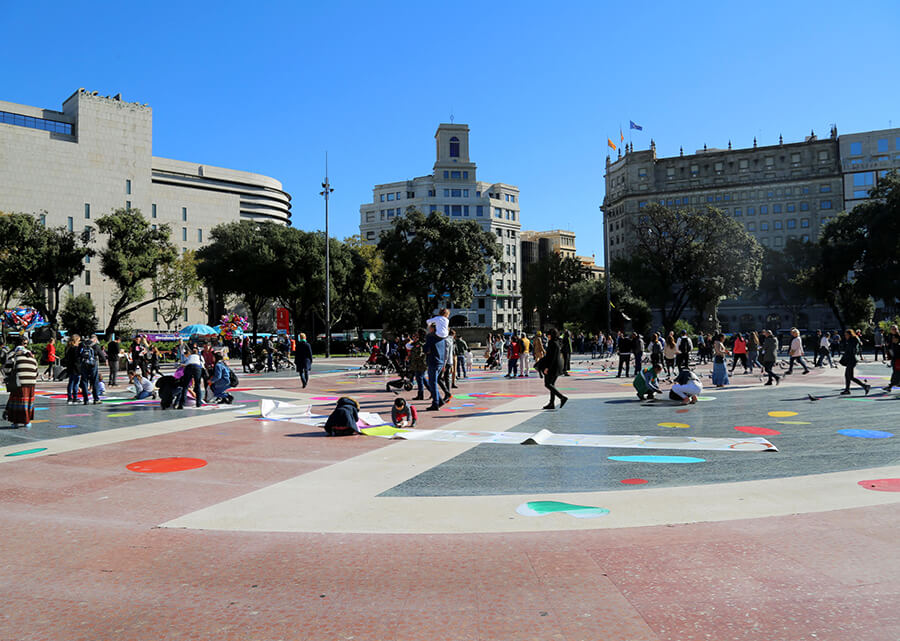 Pegada de Bubbles Plaza de Cataluña